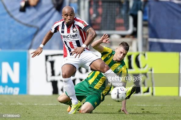 Samuel Armenteros of Willem II Vito Wormgoor of ADO Den Haag during the Dutch Eredivisie match between Willem II Tilburg and ADO Den Haag at Koning...