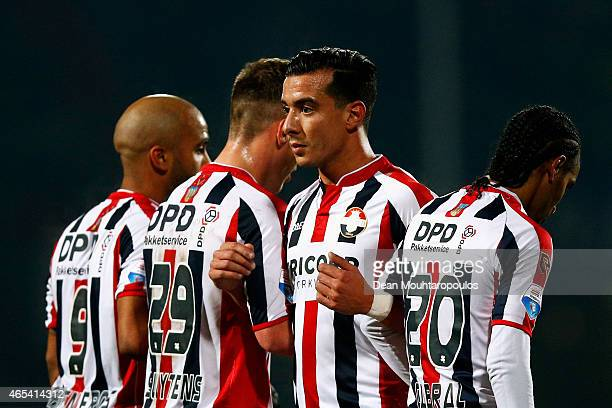 Samuel Armenteros Stijn Wuytens Ali Messaoud and Jerson Cabral of Willem II line up in the wall during the Dutch Eredivisie match between Willem II...