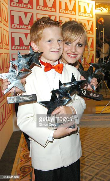 Samuel Aston and Tina O'Brien during 2004 TV Quick Soap Awards Press Room at Dorchester Hotel in London Great Britain