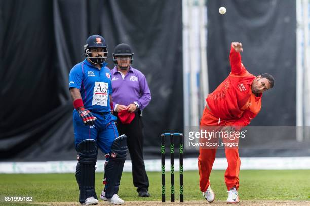 Samuel Badree of HKI United bowls during the Hong Kong T20 Blitz match between Kowloon Cantons and HKI United at Tin Kwong Road Recreation Ground on...