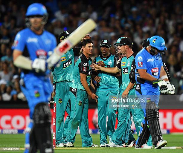 Samuel Badree of the Brisbane Heat reacts after taking a catch during the Big Bash League match between the Adelaide Strikers and Brisbane Heat at...