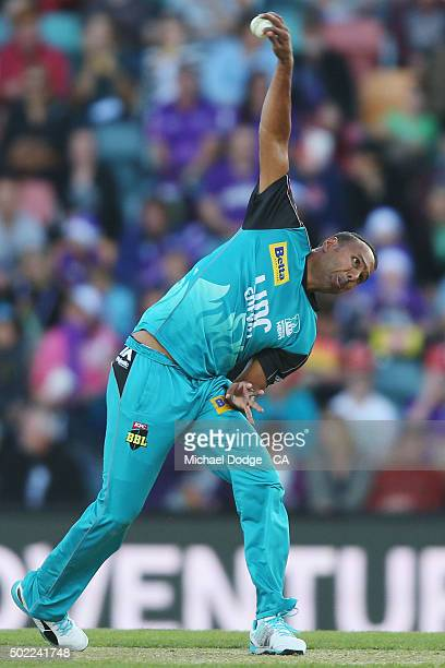 Samuel Badree of the Heat bowls during the Big Bash League match between Hobart Hurricanes and Brisbane Heat at Blundstone Arena on December 22 2015...