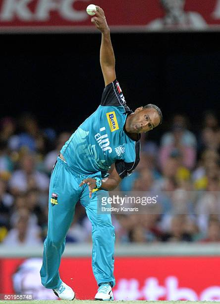 Samuel Badree of the Heat bowls during the Big Bash League match between the Brisbane Heat and the Melbourne Renegades at The Gabba on December 19...