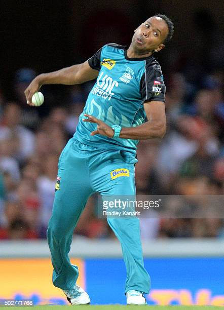 Samuel Badree of the Heat bowls during the Big Bash League match between the Brisbane Heat and Hobart Hurricanes at The Gabba on December 29 2015 in...