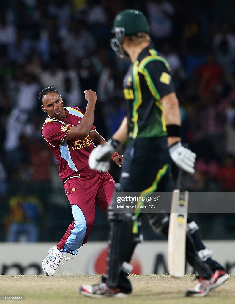 Samuel Badree of the West Indies celebrates bowling <a gi-track='captionPersonalityLinkClicked' href=/galleries/search?phrase=Shane+Watson+-+Cricket+Player&family=editorial&specificpeople=171874 ng-click='$event.stopPropagation()'>Shane Watson</a> of Australia during the ICC World Twenty20 2012 Semi Final match between Australia and West Indies at R. Premadasa Stadium on October 5, 2012 in Colombo, Sri Lanka.