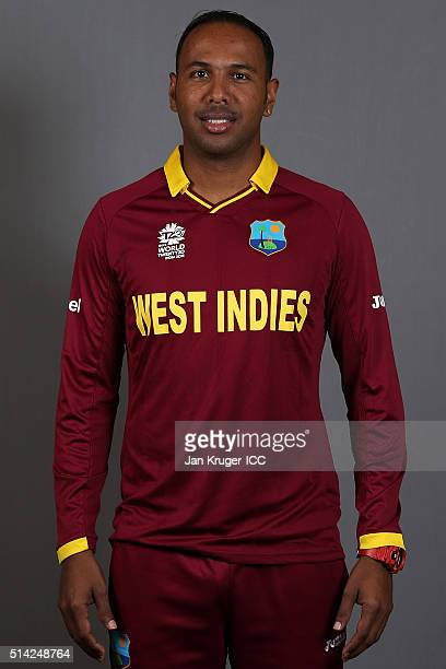 Samuel Badree poses during the West Indies headshots session ahead of the ICC Twenty20 World Cup on March 8 2016 in Kolkata India