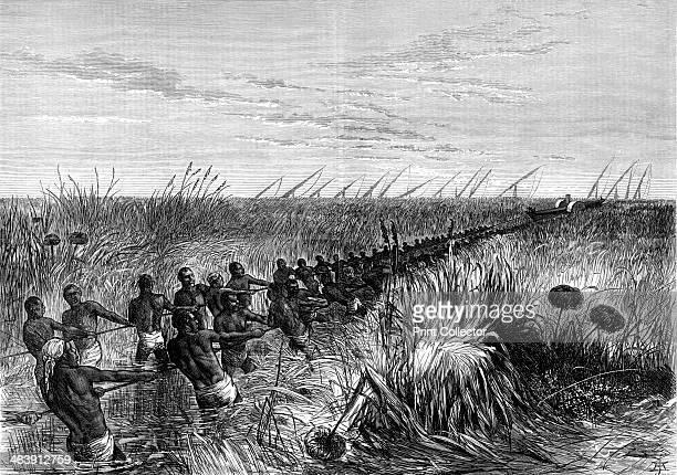 Samuel Baker's boat hauled through river grass 1864 Samuel White Baker English explorer and antislavery campaigner left Khartoum Sudan in December...