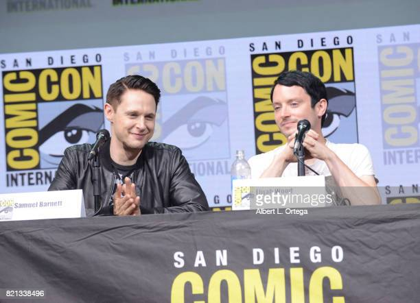Samuel Barnett and Elijah Wood at Dirk Gently's Holistic Detective Agency BBC America Official Panel during ComicCon International 2017 at San Diego...