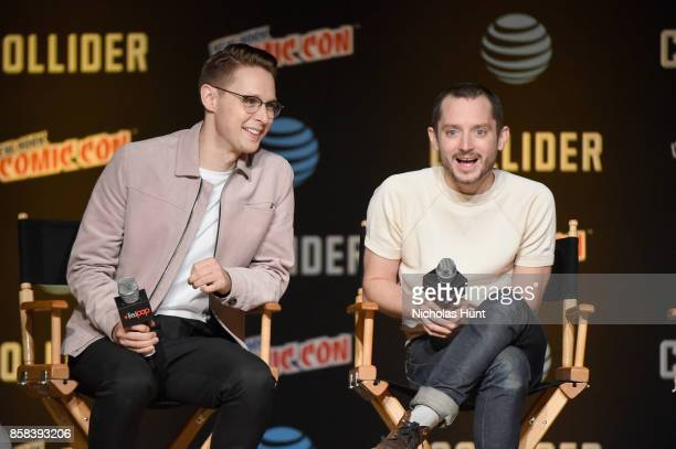 Samuel Barnett and Elijah Wood speak onstage during the Dirk Gently's Holistic Detective Agency BBC AMERICA Official Panel during 2017 New York Comic...