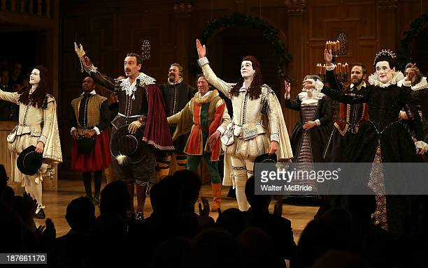 Samuel Barnett Joseph Timms Mark Rylance and the Cast receive the applause during the Broadway opening night Curtain Call for 'Twelfth Night' at...