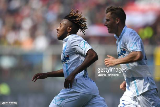 Samuel Bastien of AC ChievoVerona celebrates a goal during the Serie A match between Genoa CFC and AC ChievoVerona at Stadio Luigi Ferraris on April...