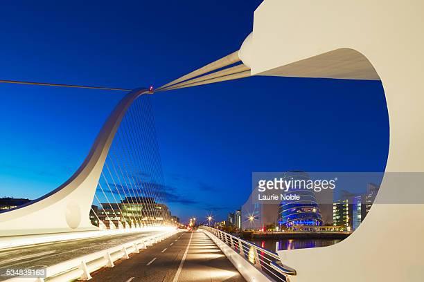 Samuel Beckett Bridge at dusk, Dublin, Ireland