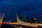 Samuel Beckett Bridge Dublin Convention center illuminated at night Dublin Republic of Ireland Europe