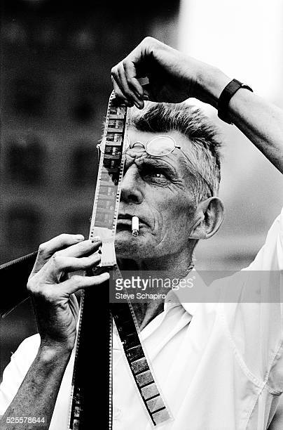 Samuel Beckett looking at rushes from his movie Film