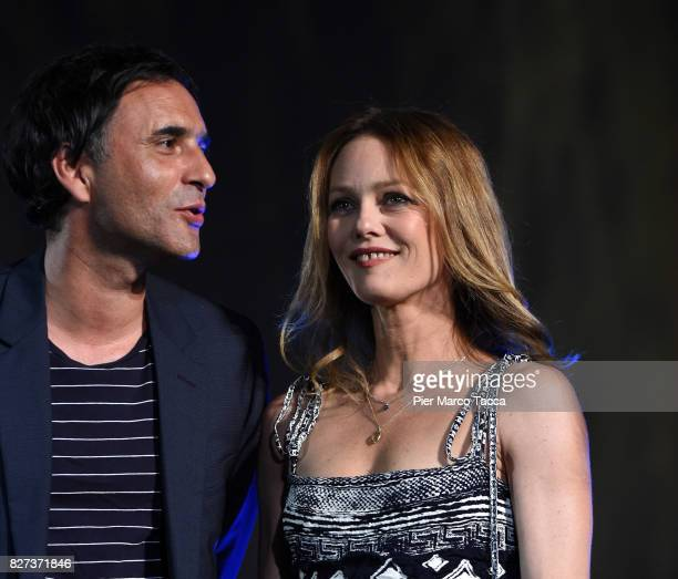 Samuel Benchetrit and Vanessa Paradis attend the 'Chien' premiere during the 70th Locarno Film Festival on August 7 2017 in Locarno Switzerland
