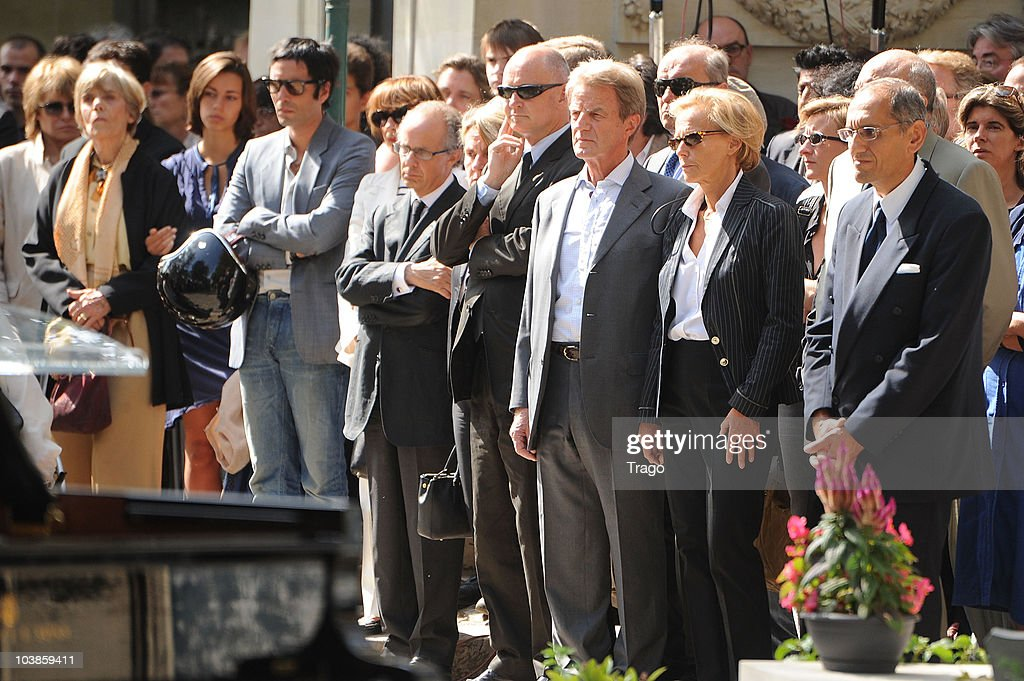 Samuel Benchetrit Christophe Girard Bernard Kouchner and Christine Ockrent attend director Alain Corneau Funerals at Cimetierre du Pere Lachaise on...