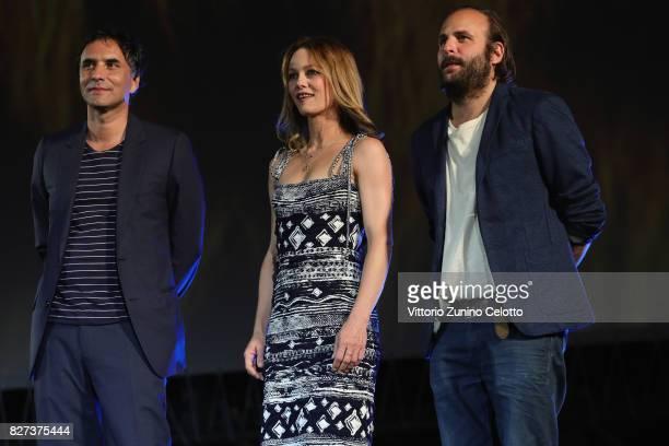 Samuel Benchetrit Vanessa Paradis Vincent Macaigne attend 'Chien' premiere during the 70th Locarno Film Festival on August 7 2017 in Locarno...