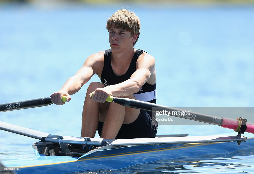 Samuel Bish of Napier Boys high waits at the start for the Boys U18 single sculls during the New Zealand Junior Rowing Regatta on February 23, 2013 in Auckland, New Zealand.