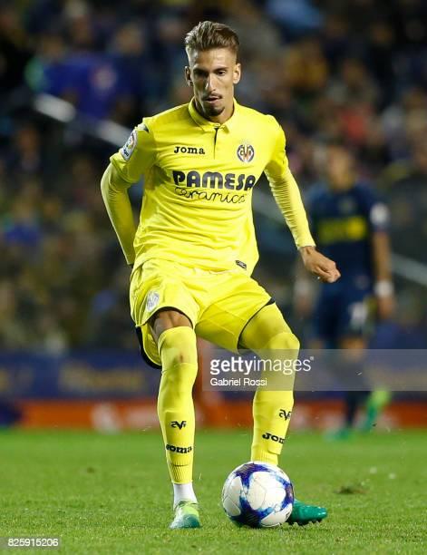 Samuel Castillejo of Villarreal CF kicks the ball during the international friendly match between Boca Juniors and Villarreal CF at Alberto J Armando...