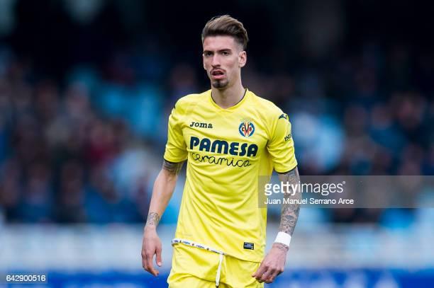 Samuel Castillejo of Villarreal CF reacts during the La Liga match between Real Sociedad de Futbol and Villarreal CF at Estadio Anoeta on February 19...