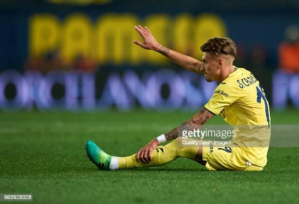 Samuel Castillejo of Villarreal lies injure on the pitch during the La Liga match between Villarreal CF and Athletic Club at Estadio de la Ceramica...