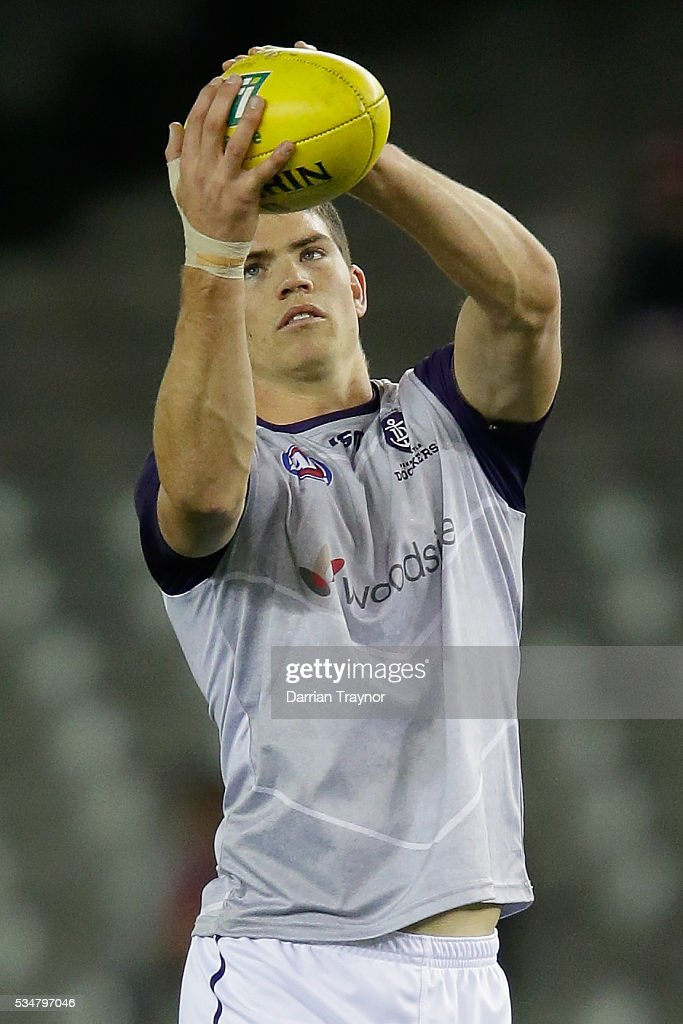 Samuel Collins of the Dockers warms up before his first game in the round 10 AFL match between the St Kilda Saints and the Fremantle Dockers at Etihad Stadium on May 28, 2016 in Melbourne, Australia.