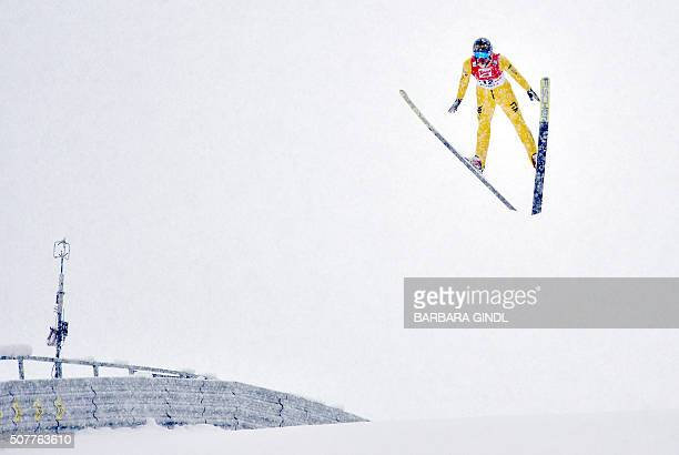 Samuel Costa of Italy competes during the NH/15km jumping event of the nordic combined world cup on January 31 2016 in Seefeld Austria / AFP / APA /...
