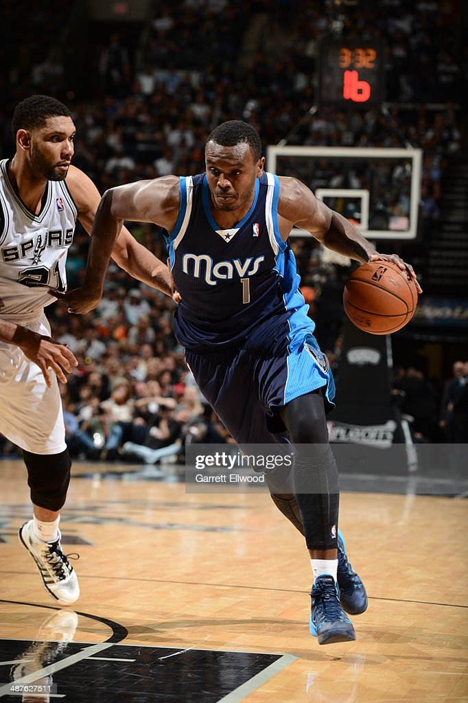 Samuel Dalembert of the Dallas Mavericks drives to the basket against the San Antonio Spurs in Game Five of the Western Conference Quarterfinals...