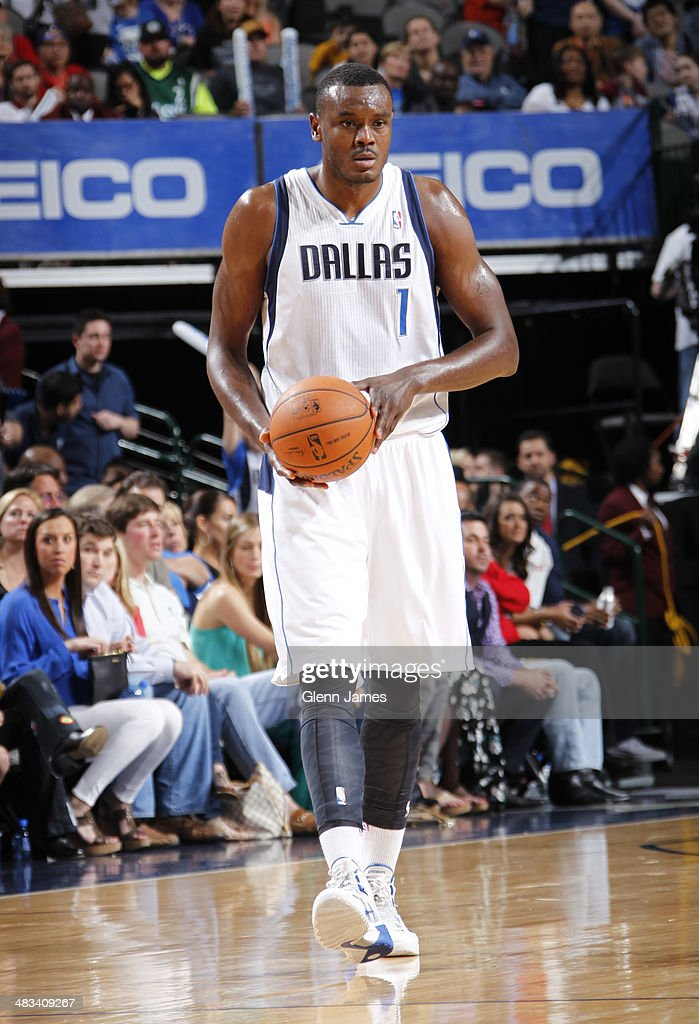 Samuel Dalembert of the Dallas Mavericks on the court during the game against the Sacramento Kings on March 29 2014 at the American Airlines Center...