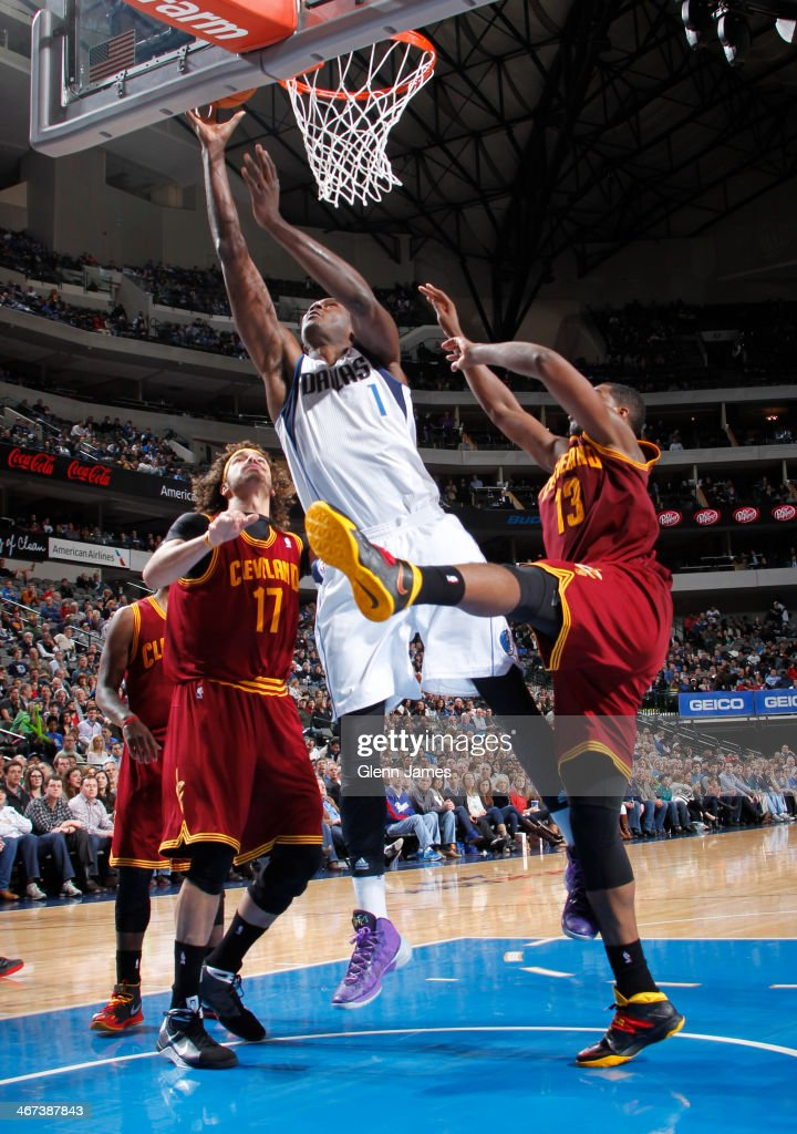 Samuel Dalembert of the Dallas Mavericks taking a shot during a game against the Cleveland Cavaliers on February 3 2014 at the American Airlines...