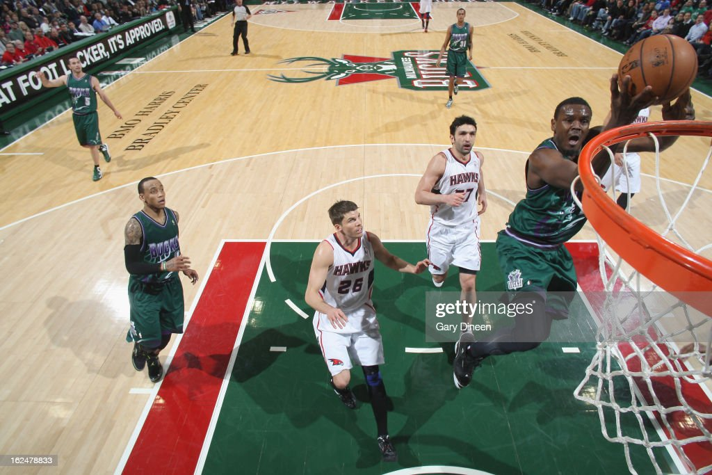<a gi-track='captionPersonalityLinkClicked' href=/galleries/search?phrase=Samuel+Dalembert&family=editorial&specificpeople=202026 ng-click='$event.stopPropagation()'>Samuel Dalembert</a> #21 of the Milwaukee Bucks dunks against the Atlanta Hawks on February 23, 2013 at the BMO Harris Bradley Center in Milwaukee, Wisconsin.