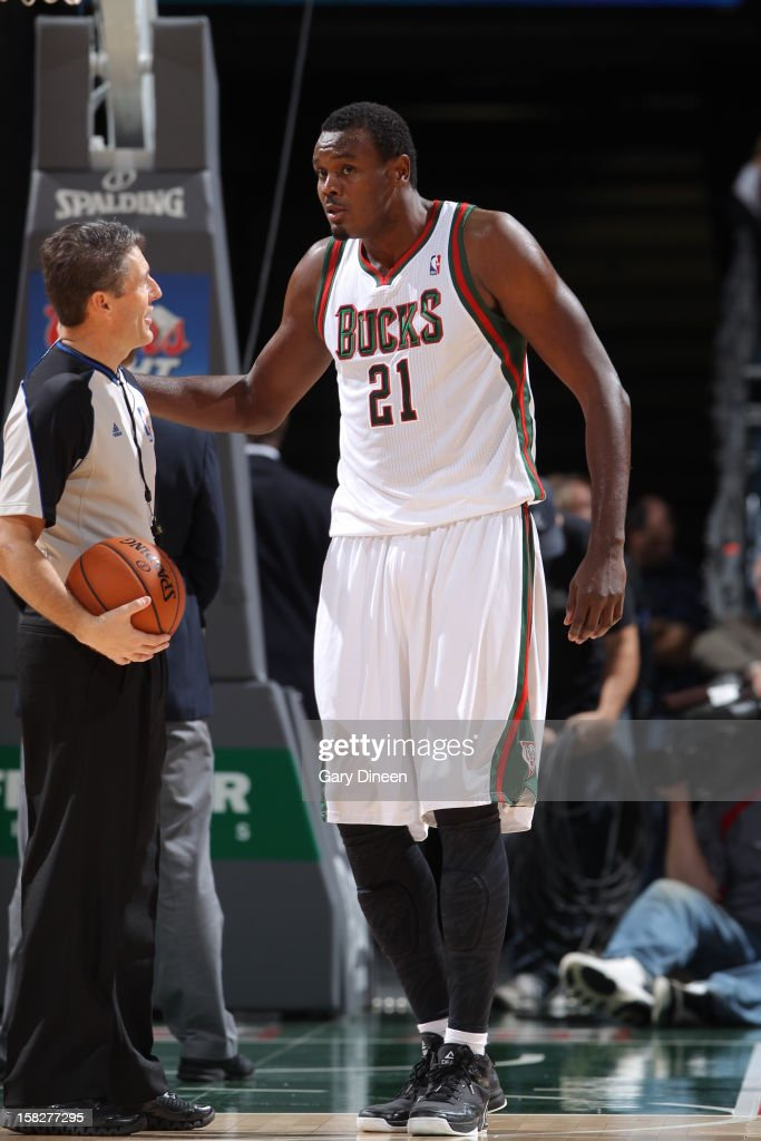 Samuel Dalembert #21 of the Milwaukee Bucks talks to an offcial about a call in the game against the Boston Celtics on November 10, 2012 at the BMO Harris Bradley Center in Milwaukee, Wisconsin.