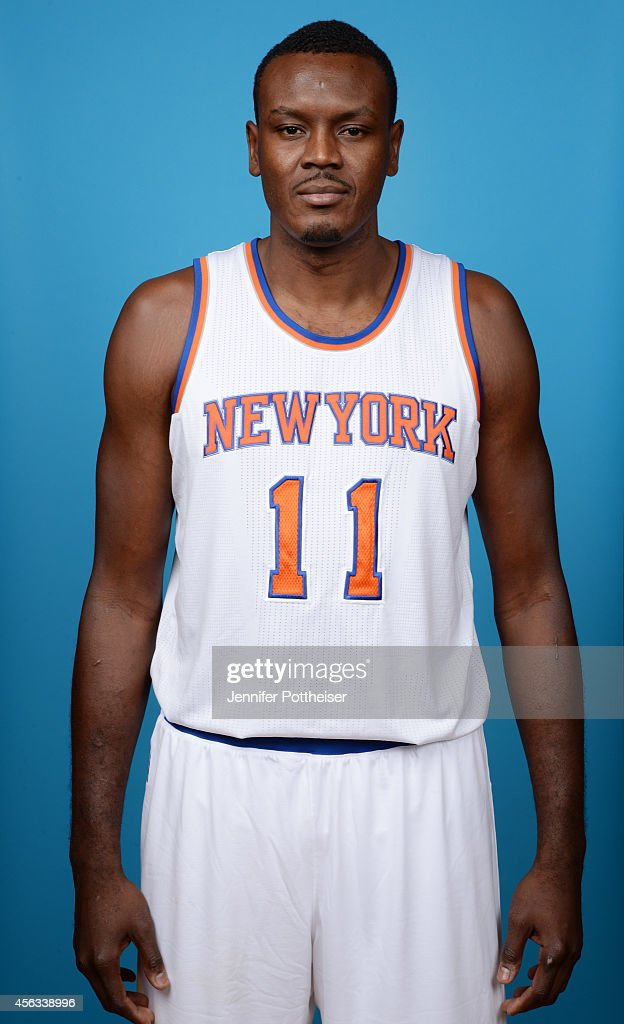 Samuel Dalembert of the New York Knick poses during NBA Media Day at the MSG Training Facility on September 29 2014 in Tarrytown New York NOTE TO...