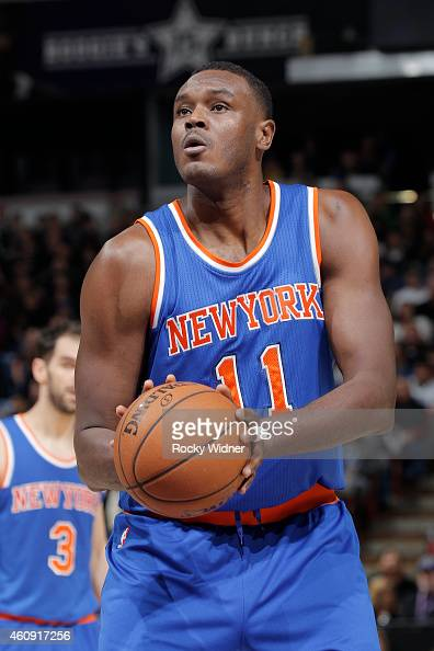 Samuel Dalembert of the New York Knicks attempts a free throw shot against the Sacramento Kings on December 27 2014 at Sleep Train Arena in...