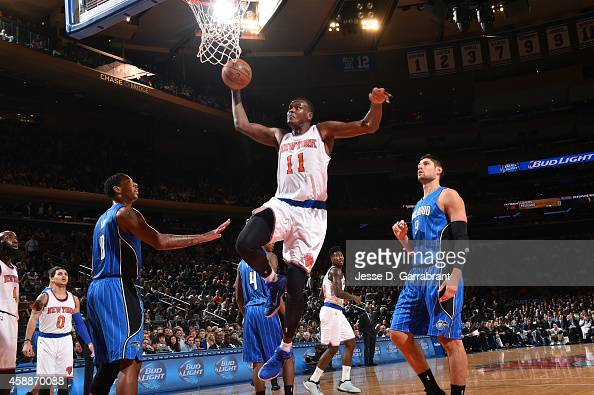 Samuel Dalembert of the New York Knicks goes for the layup against the Orlando Magicduring the game on November 12 2014 at Madison Square Garden in...