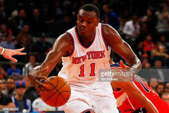Samuel Dalembert of the New York Knicks in action against the Washington Wizards at Madison Square Garden on October 22 2014 in New York City The...