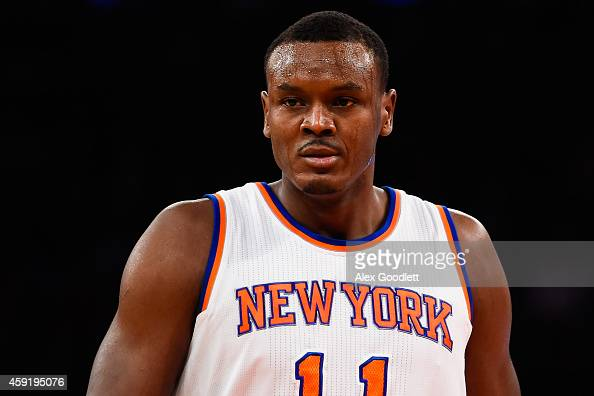 Samuel Dalembert of the New York Knicks looks on during a game against the Atlanta Hawks at Madison Square Garden on November 10 2014 in New York...
