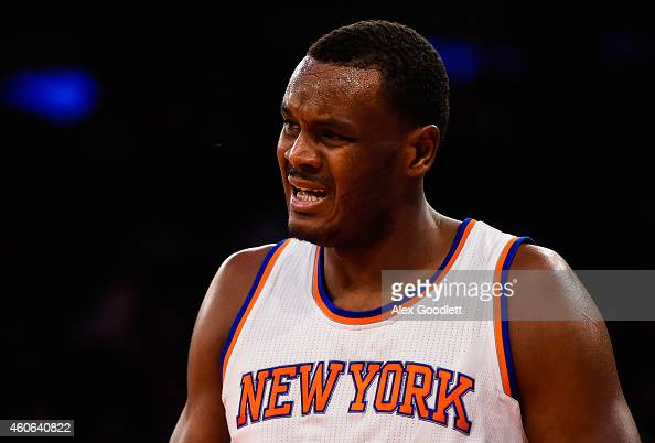 Samuel Dalembert of the New York Knicks looks on during a game against the Portland Trail Blazers at Madison Square Garden on December 7 2014 in New...