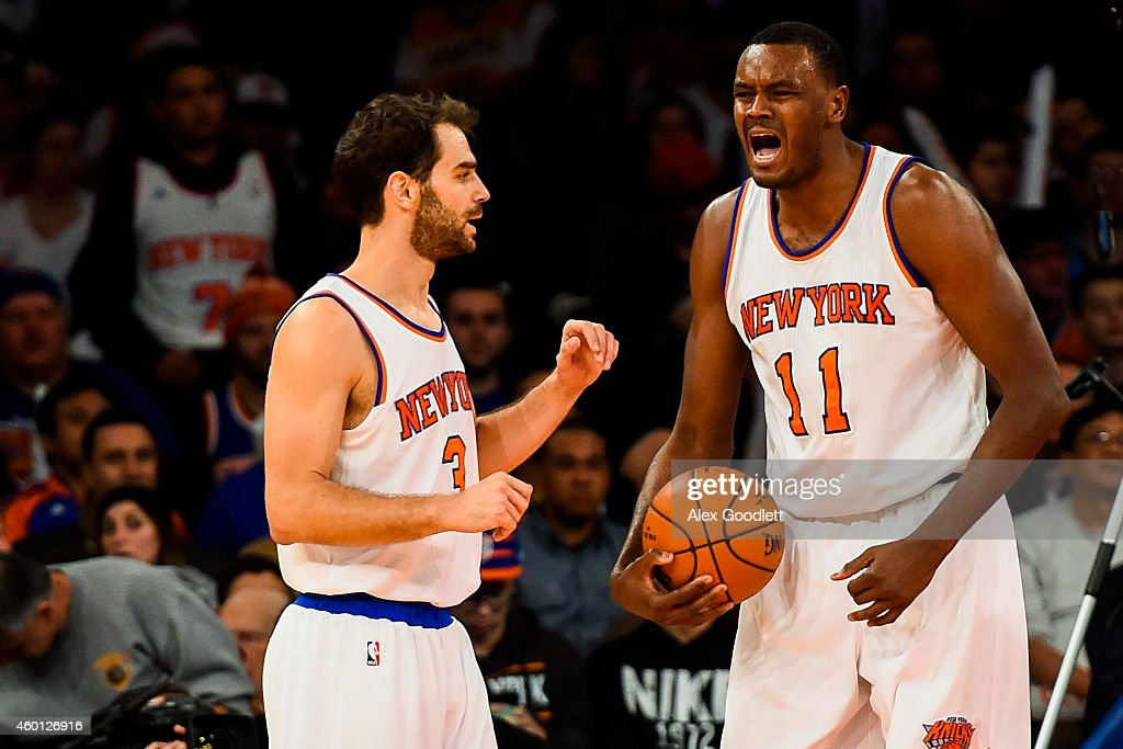 Samuel Dalembert of the New York Knicks reacts after drawing a foul in the second half during a game against the Portland Trail Blazers at Madison...