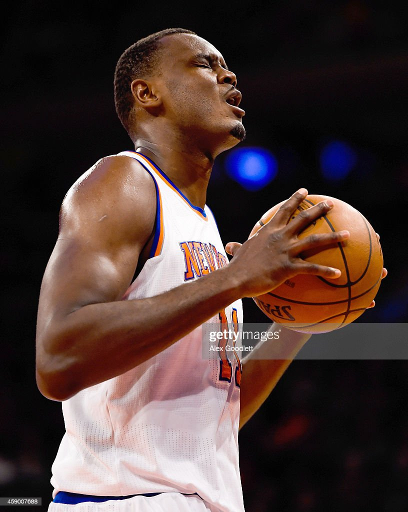 Samuel Dalembert of the New York Knicks reacts to a call in the first half during a game against the Utah Jazz at Madison Square Garden on November...