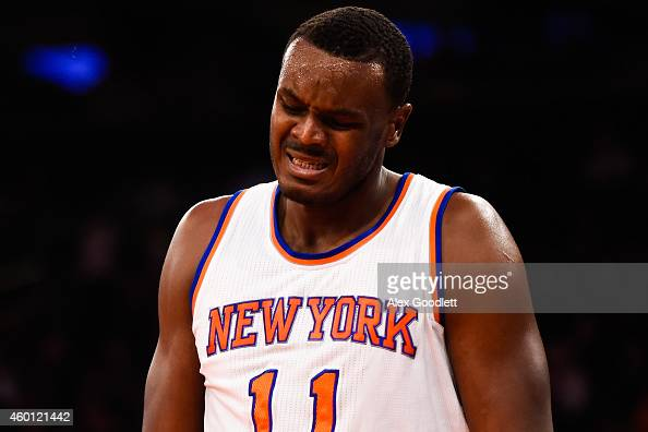 Samuel Dalembert of the New York Knicks reacts to a foul in the first half during a game against the Portland Trail Blazers at Madison Square Garden...