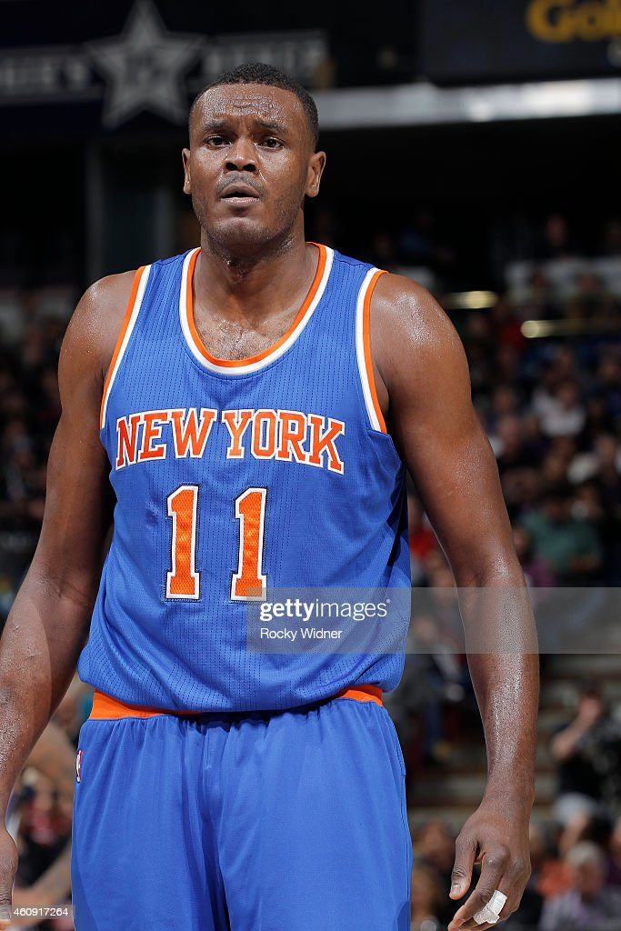 Samuel Dalembert of the New York Knicks stands on the court during the game against the Sacramento Kings on December 27 2014 at Sleep Train Arena in...
