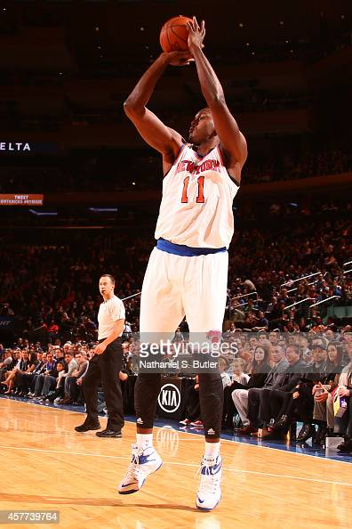 Samuel Dalembert of the New York Knicks takes a shot against the Washington Wizards at Madison Square Garden in New York City on October 22 2014 NOTE...