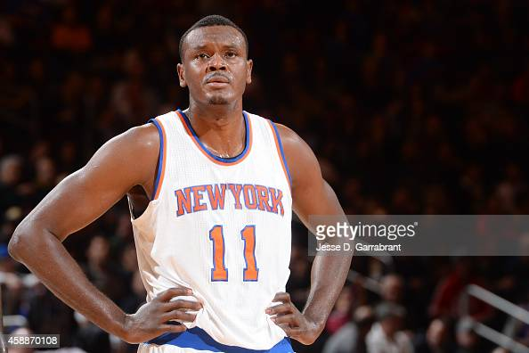 Samuel Dalembert of the New York Knicks during the game on November 12 2014 at Madison Square Garden in New York NY NOTE TO USER User expressly...