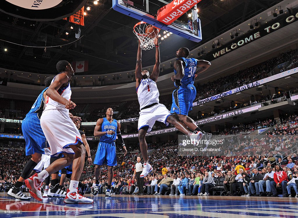 Samuel Dalembert of the Philadelphia 76ers dunks against the Orlando Magic during the game on March 1 2010 at the Wachovia Center in Philadelphia...