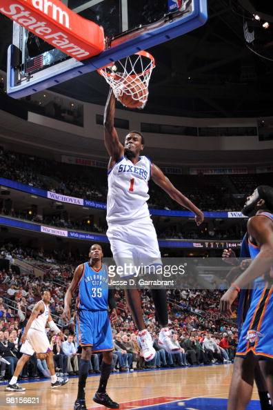 Samuel Dalembert of the Philadelphia 76ers dunks the ball against the Oklahoma City Thunder during the game on March 30 2010 at the Wachovia Center...