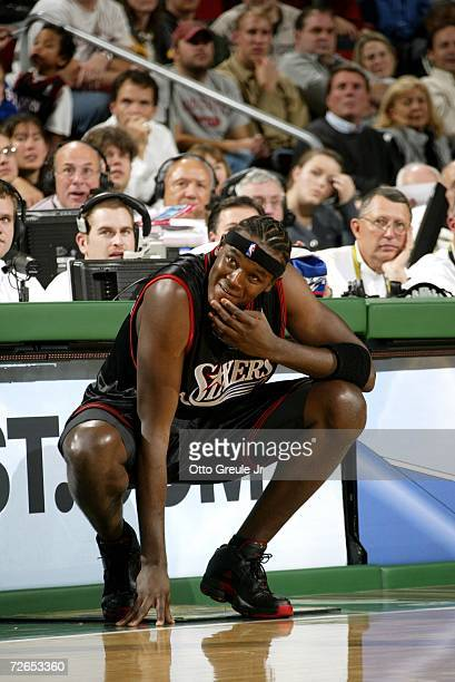 Samuel Dalembert of the Philadelphia 76ers waits to enter the game against the Seattle Sonics on November 15 2006 at Key Arena in Seattle Washington...