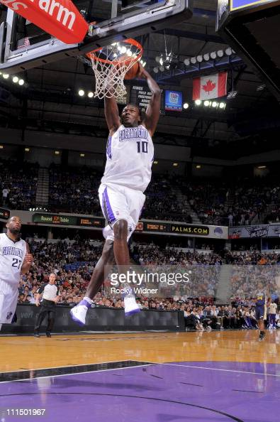 Samuel Dalembert of the Sacramento Kings dunks the ball against the Utah Jazz on April 3 2011 at Power Balance Pavilion in Sacramento California NOTE...