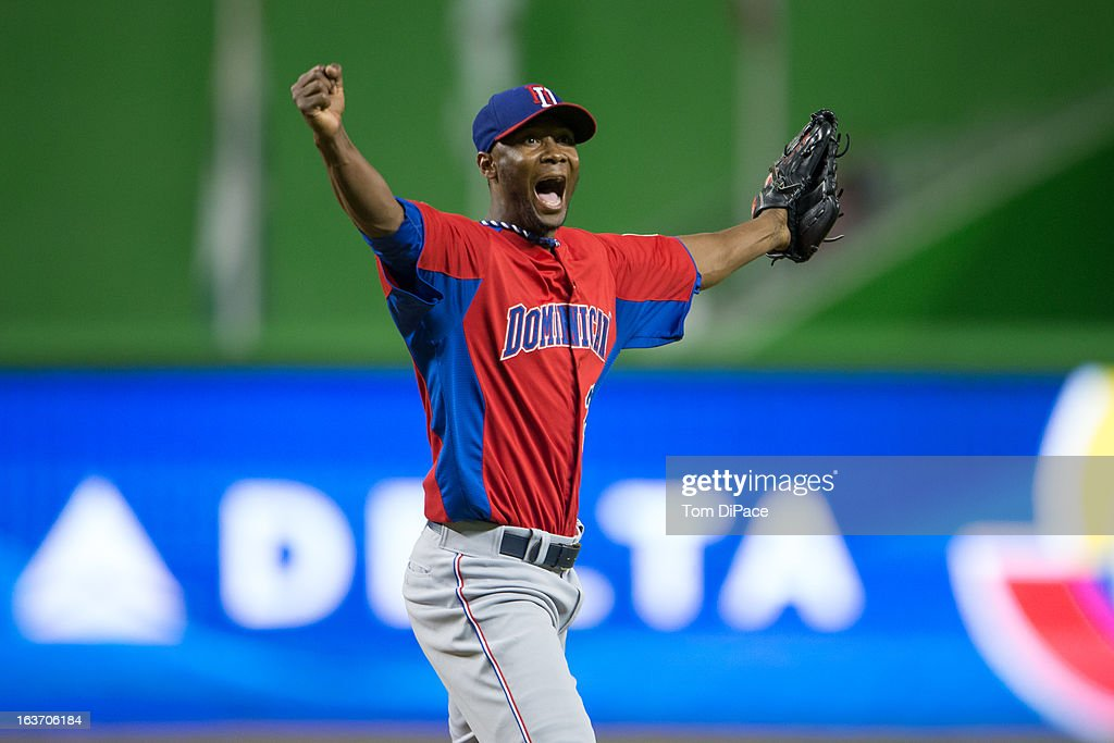 Samuel Deduno #21 of Team Dominican Republic celebrates after Eric Hosmer #35 of Team USA is called out in strikes in the bottom of the third inning of Pool 2, Game 4 against Team USA in the second round of the 2013 World Baseball Classic on Thursday, March 14, 2013 at Marlins Park in Miami, Florida.