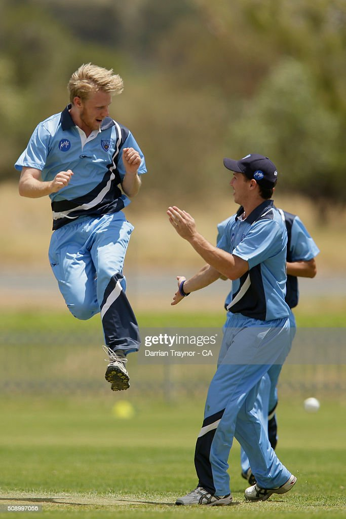 Samuel Doggett of New South Wales celebrates the wicket of Rohan Best of Victoria on day 1 of the National Indigenous Cricket Championships on February 8, 2016 in Alice Springs, Australia.